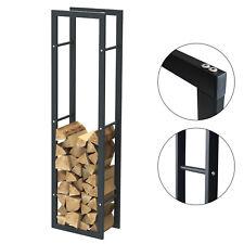 Étagère de cheminée exclusive en métal noir mat Porte bûches cheminée 40x150