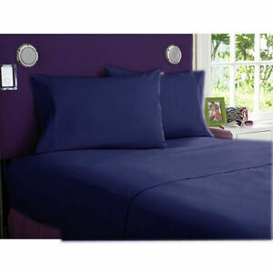 1000 TC Egyptian Cotton Fitted Sheet+ 2 PC Pillow Case US Twin & Navy Blue Solid