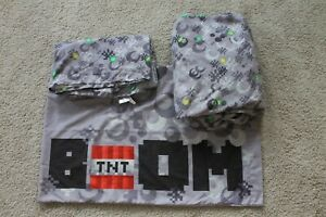 Minecraft Twin 3 Piece Sheet Set Bedding Grey Video Game Flat Fitted Pillow Case