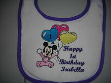 happy first  birthday baby minnie mouse   baby bibs