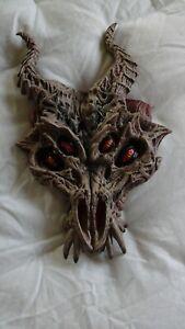 Dragon DEMON Skeletal Horned 4 Eyed Halloween Mask Prop