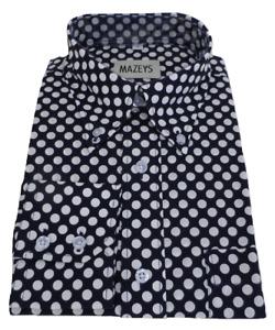 Mazeys Mens Navy and White Retro Mod Polka Dot 100% Cotton Shirts…