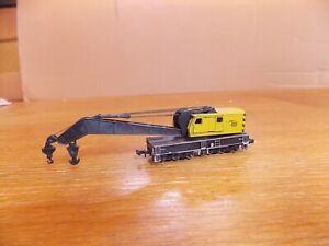ROCO 12-wheel ENGINEERING CRANE in DB Yellow Livery N Gauge