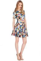 Goddiva Short Sleeve Floral Print Top & Skirt Prom Cocktail Party Dress