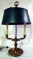 Brass Adjustable Green Malachite Toleware Accent Desk Table Bouillotte Lamp