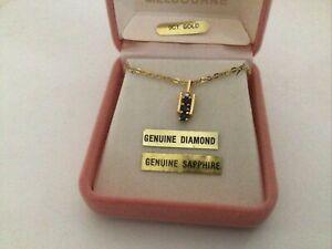 9ct gold Sapphire Diamond Pendant