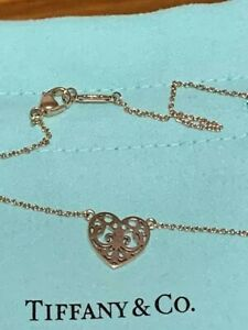 Auth Tiffany & Co. Enchant Heart Rubbed Metal Necklace w/BOX *DHL*