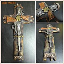 Western Rustic Cowboy Vintage Six Shooter Pistol Gun Wall Cross Decor Gift 12x7