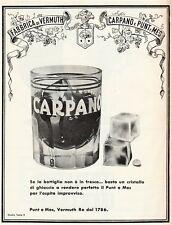 PUBBLICITA' 1957 CARPANO PUNT E MES VINO VERMOUTH  WINE ICE BAR STUDIO A.TESTA