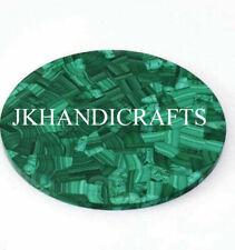 "24"" Malachite Green Marble Center Table Top Handmade Work Home Decor"