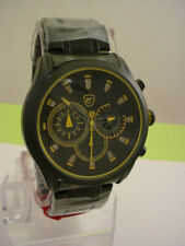 Cow SHARK Men's Luxury Stainless Steel Black Yellow Dial Watch