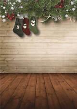 Photo Background Christmas Trees Wooden Floor Photography Backdrops Vinyl 5x7FT