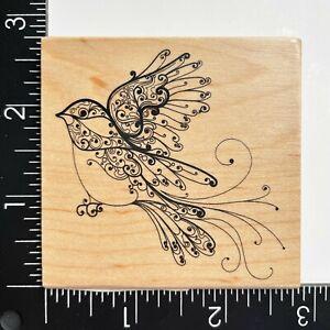 Inkadinkado Flourish Swirl Ornate Bird Wood Mounted Rubber Stamp