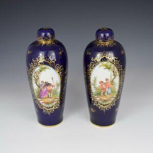 Pair Of Large Antique Dresden Porcelain Vases & Covers c.1880