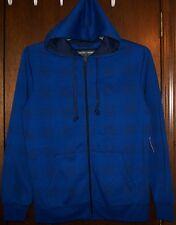 """Mens Hoodie Jacket sz M F.U.S.A.I """"SURF THE WEB"""" Royal Blue Zip Front Fleece NWT"""