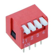 4-Way Piano DIP DIL Red PCB Switch