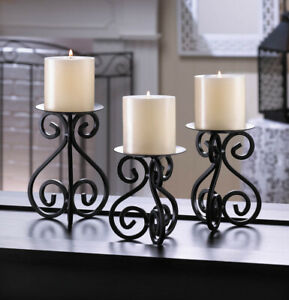 SCROLLWORK CANDLE STAND TRIO -  3 SIZES - IRON - BLACK