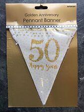 GOLDEN WEDDING PARTY BANDIERINE Decorazione frizzante 50th ANNIVERSARIO 4 M di Banner