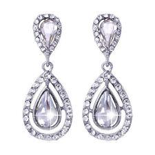 Pierced Fantastic Crystal Tear Drop Shaped Sparkling Diamante Dangle Earrings