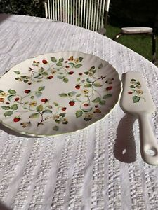 James Kent Staffordshire Old Folley Strawberry Pattern Cake Plate And Slice