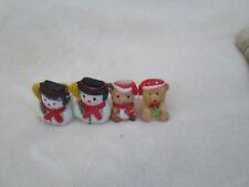Lot Of 4 Mini Holiday Taper Holders 2-Snowmen 2-Teddy Bears