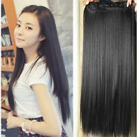 """CLIP IN ONE PIECE 100% REMY HUMAN HAIR EXTENSIONS FULL HEAD 20"""" 100G 12Colors"""