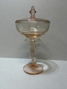 Rare Pink Dermay Fifth Avenue New York (Marked) Art Deco Woman Lady Powder Jar