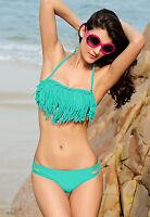 Mujer Azul Turquesa Flequillos Set De Bikini - Tapa Y Fondo - Playa Traje Baño