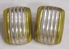 Vintage Sterling Earrings for Pierced Ridged Rectangles .925 Mexico