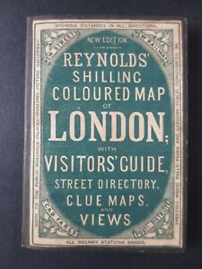 1878 REAL Reynold's Plan of London & illustrated Guide Book fares index clue map