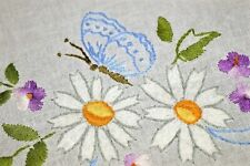 BUTTERFLY ESSENCE & FLOWING SPRING BOWS! VINTAGE GERMAN HAND EMB TABLECLOTH