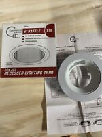 """Commercial Electric T19 4"""" White Baffle Trim Recessed Light Housing SKU  264 305"""