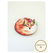 Floral Fox Brooch Wooden Curled Up Fox Nature 50x40mm