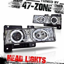 For Chevy GMC Halo Clear Projector Lens Chrome Housing Headlights Lamps