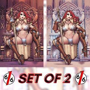 🚨🔥🗡 RED SONJA #28 RYAN KINNAIRD 616 Virgin Variant Throne Set LTD 350 COA