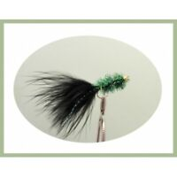 Goldhead Trout Flies, Lures, 6 x Gold bead Green black Tail Fritz, Size 10
