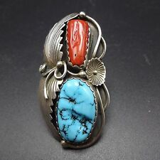Signed Vintage NAVAJO Sterling Silver OLD RED CORAL & TURQUOISE RING, size 8.25