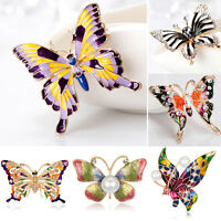 Elegant Butterfly Crystal Rhinestone Brooch Pin Women Lady DIY Bouquet Jewelry
