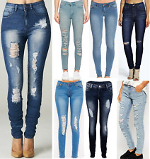 WOMENS RIPPED KNEE CUT JEANS FADED SLIM FIT LADIES SKINNY DENIM SIZES 6 TO 16