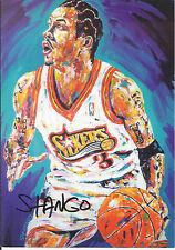 JOHN STANGO Autograph 6x8.5 Postcard Allen Iverson 76ERS  art work JSA /coa