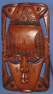 Hand carved wood wall decor tribal mask
