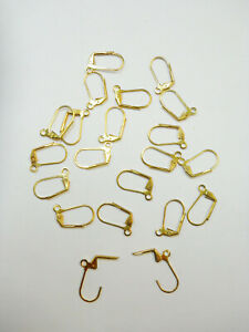 20 Plated Brass Metal Hinged Leverback Earring Findings w/ open loop Gold finish
