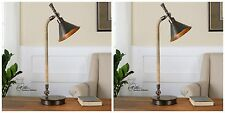 TWO OXIDIZED BRONZE METAL INDUSTRIAL TABLE LAMP STAINED ROPE ACCENTS DESK LIGHT