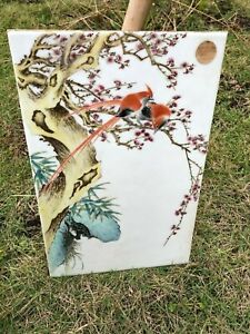 Antique Chinese Famille Rose Export Porcelain Tile Plaque Hand-Painted Flowers