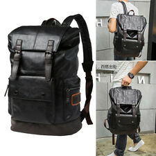 New Mens Travel Backpack PU Leather Satchel Laptop Bag Camping Hiking Rucksack