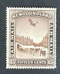 U0193 NEWFOUNDLAND 1931 Air mail 15c Chocolate no wmk  SG 192  used