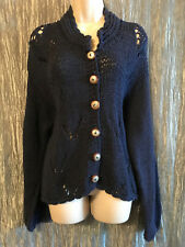 Orvis Blue Knit Big Button Front Sweater Size S/M Navy Blue Long Sleeve Cardigan