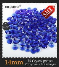 100 Blue Chandelier Glass Crystals Lamp Garland Octagon Beads Connectors 14mm