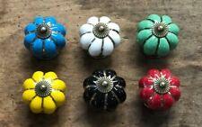Set of 6 Yellow Red Green Blue White Black Enamel Pull Drawer Cabinet Knob