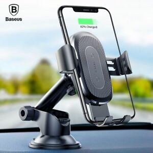 Baseus Wireless Car Charger Suction Cup Holder For iPhone 11 X Xs Xs Xr Samsung